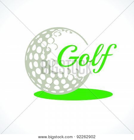 . Vector Logo. Set Golf Icons. Icon Of A Golf Ball. Black & White.