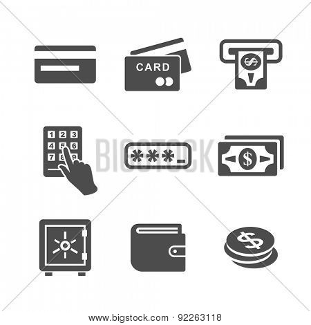 ATM, cash machine and money icon set. Simplus series vector icons