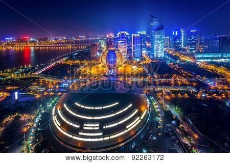 Hangzhou,China-December 5,2014:Illuminated modern skyline of hangzhou.