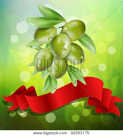 olive branch with red ribbon on a green background with bokeh