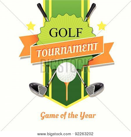 Vector Illustration With Simple Golf Poster.