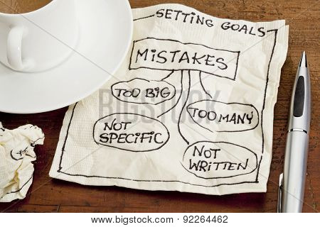common mistakes in setting goals (too many, too big, not specific, not written) - a sketch drawing on a cocktail napkin with a coffee cup