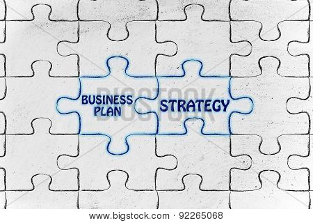 Business Plan & Strategy, Glowing Jigsaw Puzzle Illustration