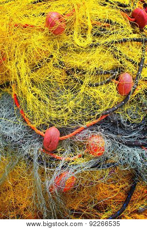 Close up view of fishing net