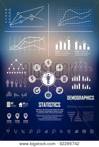 Vector Illustration With Info Graphics Ements In Dark Bluer Background.