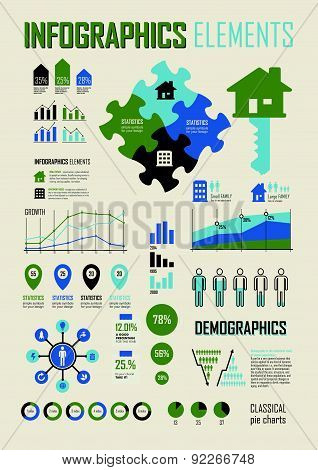 Vector Illustration With Info Graphics Elements In Blue & Green Colors.