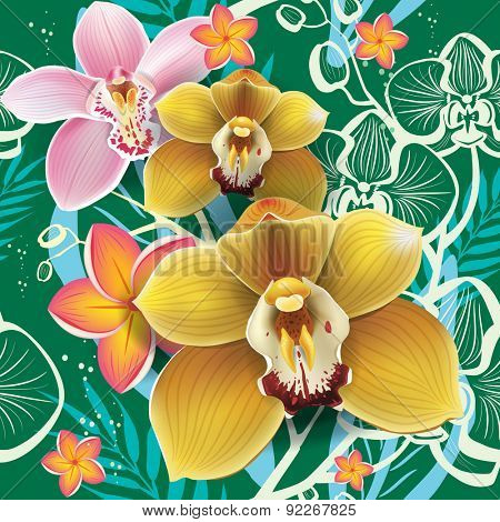 Seamless floral pattern with orchid on green