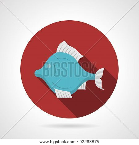 Exotic fish red round vector icon
