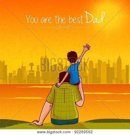 Cute little son sitting on his father's shoulder on city view orange and yellow background for Happy Father's Day celebration concept.