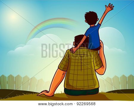 Cute little son sitting on his father's shoulder on nature background for Happy Father's Day celebration concept.