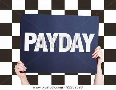 Payday card with checkered flag on background