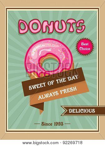 Stylish vintage menu card design for donuts shop or restaurant.