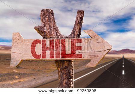 Chile wooden sign with Valle de la Luna background