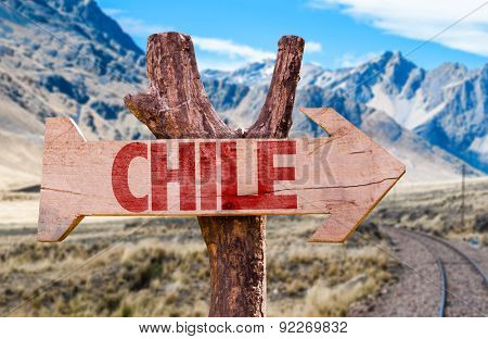 Chile wooden sign with Cordillera background