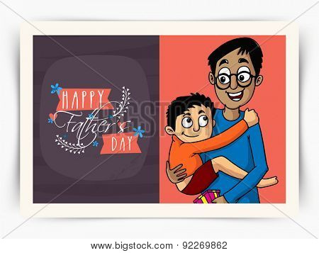 Beautiful greeting card design with illustration of a cute little son in his fathe's lap on occasion of Happy Father's Day celebration.