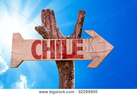 Chile wooden sign with sky background