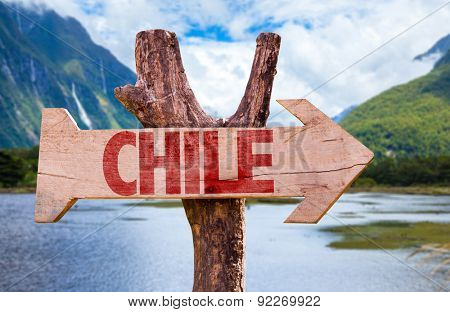 Chile wooden sign with mountains background
