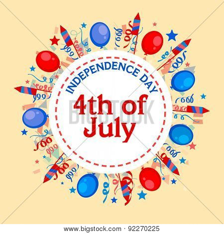 4th of July, American Independence Day celebration sticker, tag or label decorated with colorful balloons and firecrackers on yellow background.