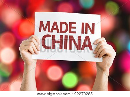 Made In China card with bokeh background
