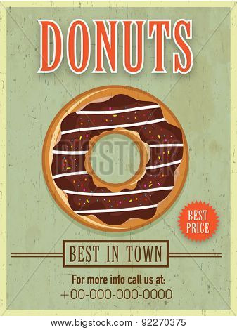 Best in town vintage menu card on grungy green background for sweet donuts shop.