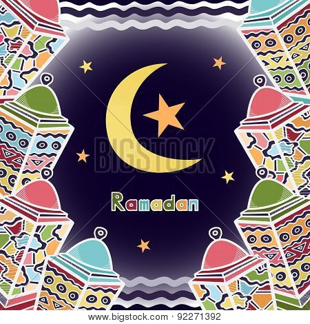Vector Colorful Ramadan Greeting Card Design With Lanterns, Moon And Stars On Dark Blue Background.