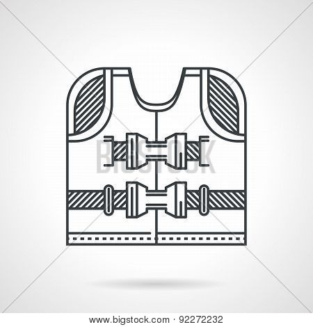 Rescuing vest flat line vector icon