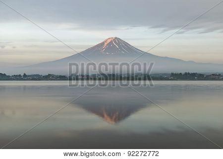 Mount Fuji Reflected In Lake Kawaguchiko At Dawn, Japan.