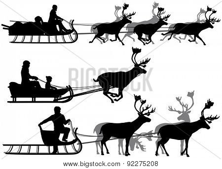 Set of illustrated silhouettes of people in sleighs pulled by reindeer