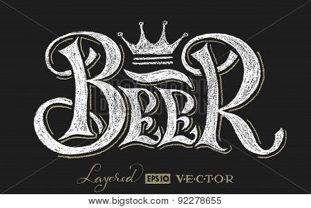 Beer lettering on chalkboard