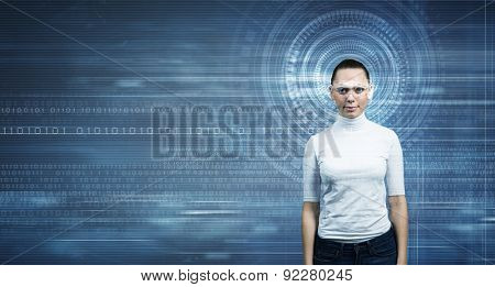 Young woman in white and virtual blue interfase