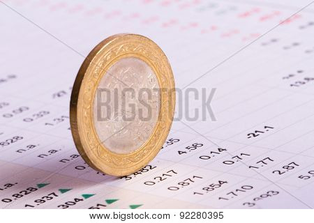 Coin Standing On Financial Data
