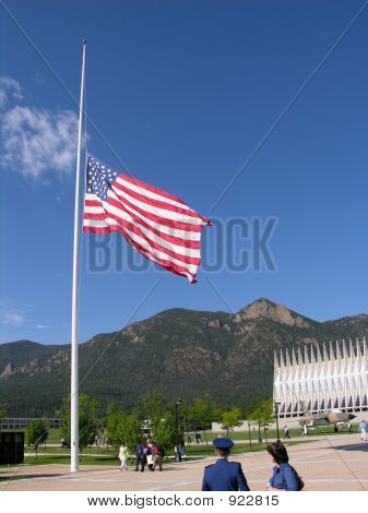 Flag Lowered To Half Staff