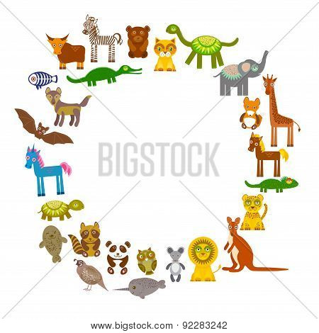 collection Funny cartoon Animals card template. circle on White background, template for your design