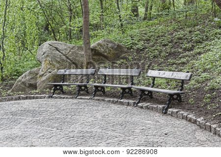 Three Empty Benches In A Park In Uman Sophia