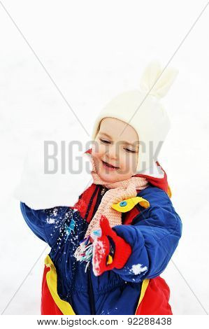 Girl  Plays With Snow