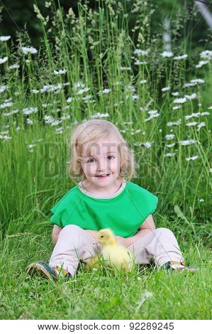 Little Girl  And  Duckling
