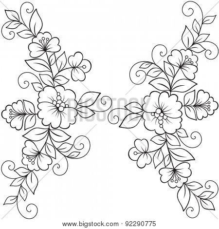 Flower vector ornament frame. Black flower frame, lace ornament
