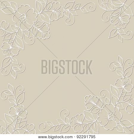 Flower ornament frame. Ornamental flower background with white flowers.
