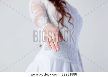 The Bride Extends Her Hand,  Woman In A Wedding Dress