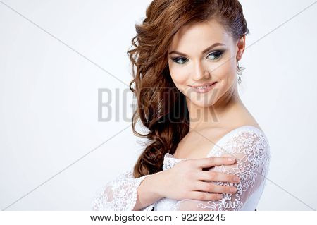 Portrait Of Happy Bride In Wedding Dress, White Background, Close Up