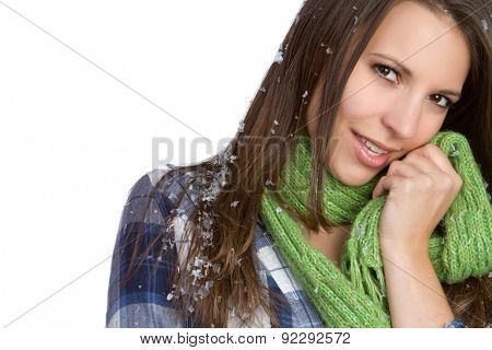 Beautiful winter snow scarf woman