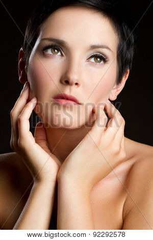 Beautiful woman hands face portrait