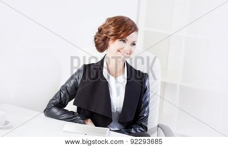 Successful Business Woman Looking Confident And Smiling, Close Up, Looks Right