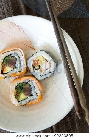 Dish Of Sushi Roll
