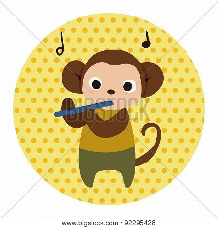 Musical Animal Monkey Flat Icon Elements Background,eps10