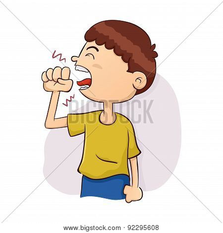 Boy Coughing Illustration