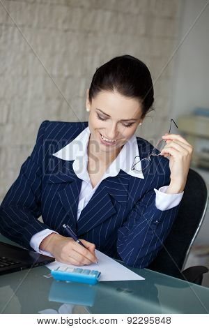 Happy Accountant Write On Blank Paper