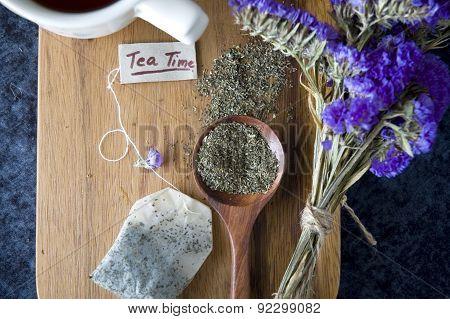 Tea On Wooden Board Background