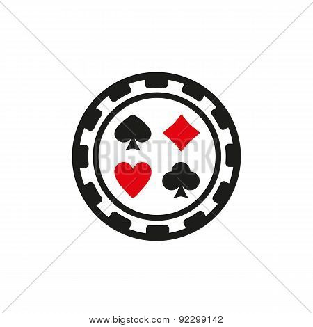 The Casino Chip Icon. Casino Chip Symbol. Flat