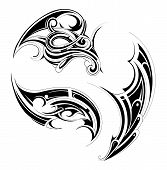 picture of maori  - Gothic and Maory style tattoo set isolated on white - JPG